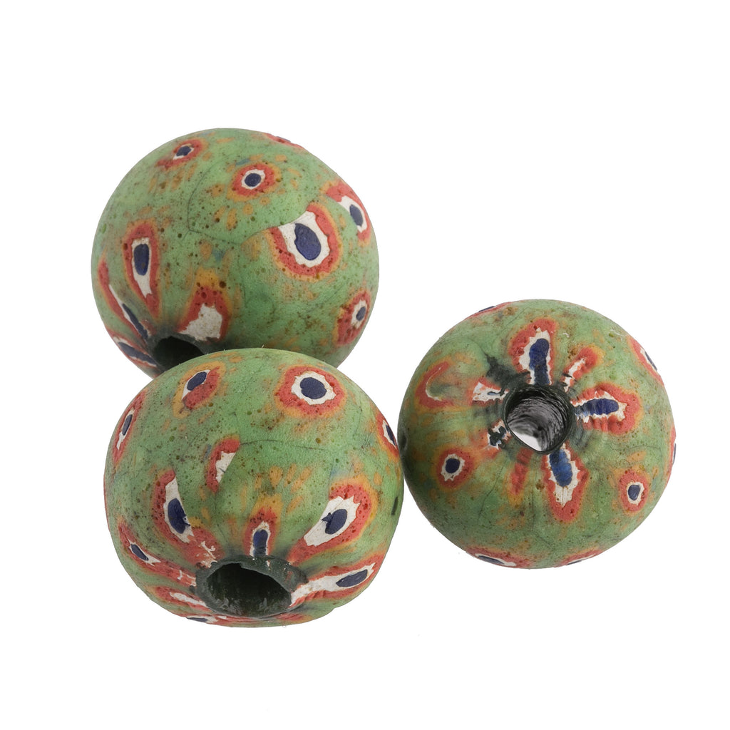 Ancient Indonesian Jatim bead replica. 20mm pkg of 1. b1-982