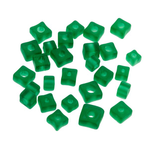 67 vintage emerald green sliced cane glass  beads graduated in size.  4-13mm. b19-879