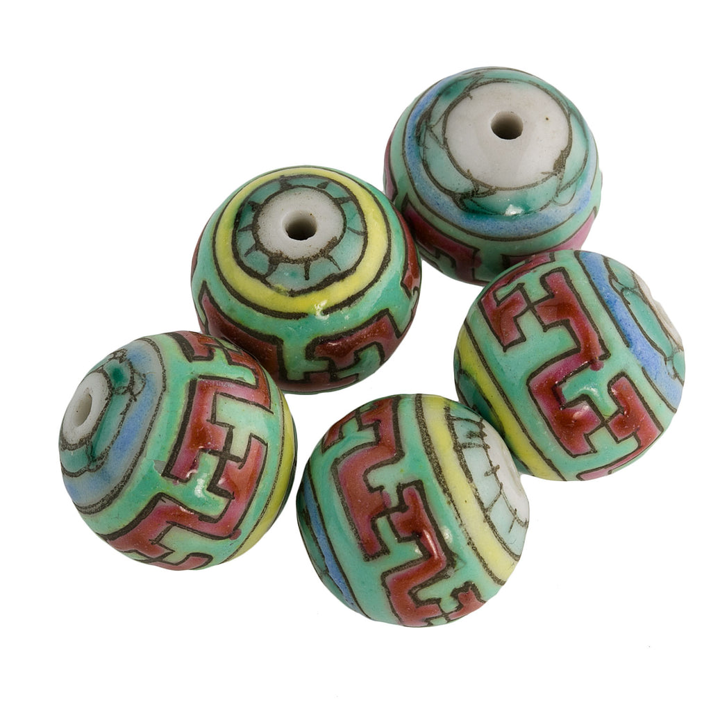 Painted Porcelain Round 12mm pkg of 4. B2-0029