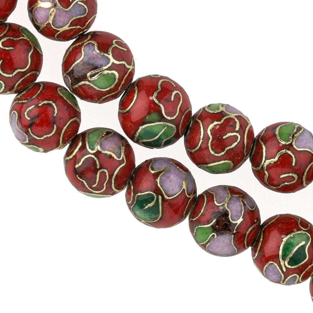 8mm red cloisonne bead. Pkg of 5. b2-0070