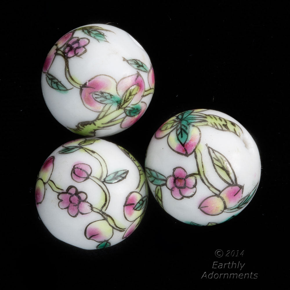 Chinese white porcelain rounds, peach branch motif, 14-15mm. Pkg. 2. b2-353