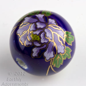 Vintage painted ceramic round, 24mm, sold individually. b2-371