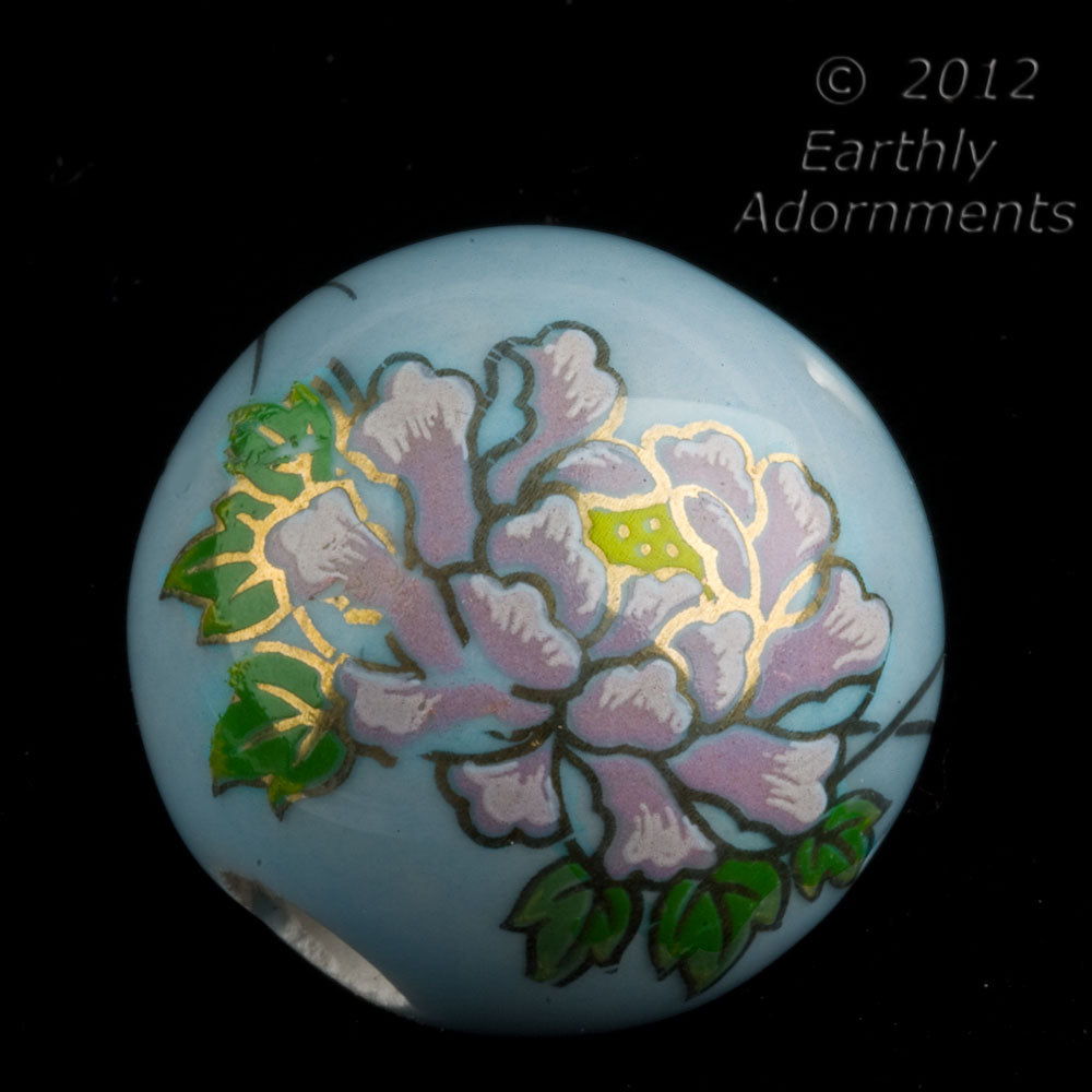 Vintage painted ceramic round, 24mm, 6mm hole, sold individually. b2-372(e)
