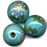 Vintage painted ceramic round, 24mm, 6mm hole, sold individually. b2-373(e)