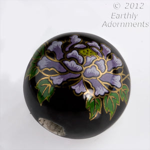 Vintage painted ceramic round, 24mm, 6mm hole, sold individually. b2-374(e)
