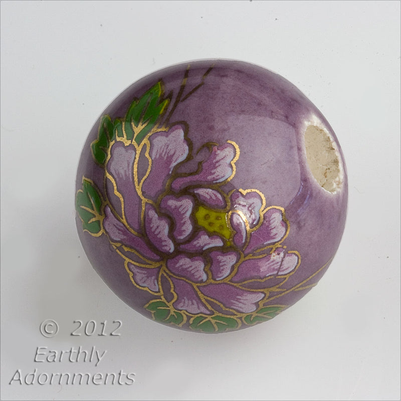 Vintage painted ceramic round, 24mm, 6mm hole, sold individually. b2-375(e)