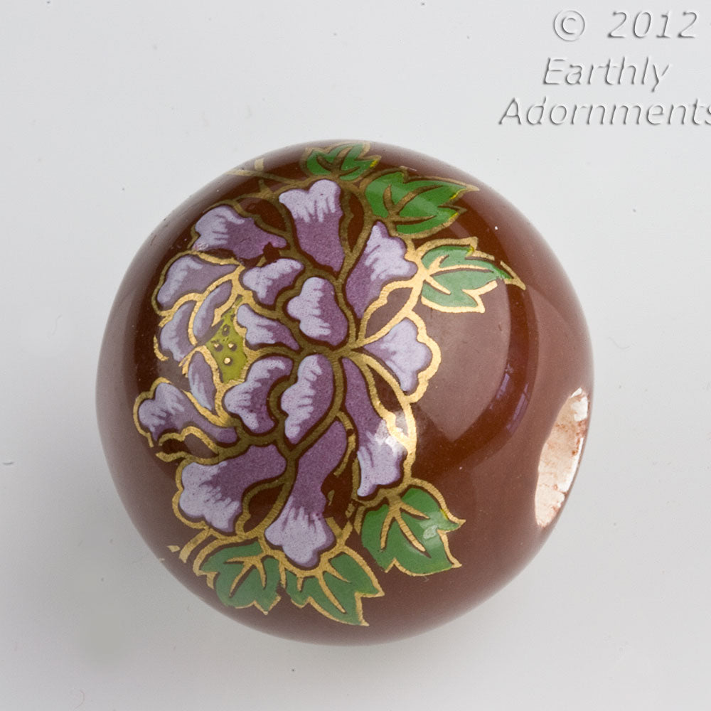Vintage painted ceramic round, 24mm, 6mm hole, sold individually. b2-376(e)
