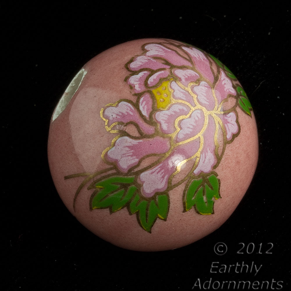 b2-377-Vintage painted ceramic round,24mm, 6mm hole, sold individually