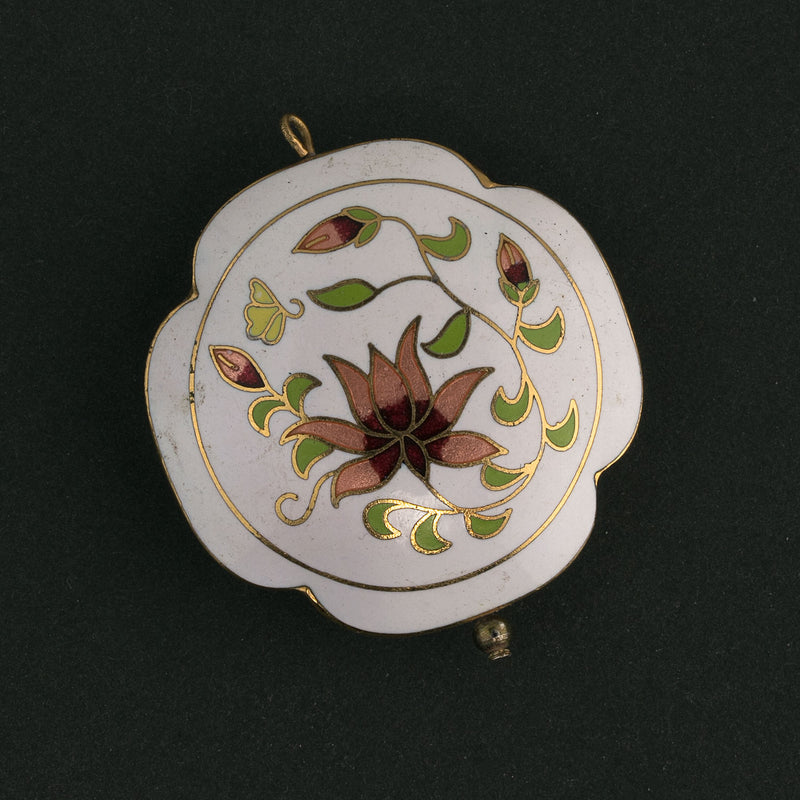 Vintage cloisonne disk bead. 40mm, sold individually. b2-431-1