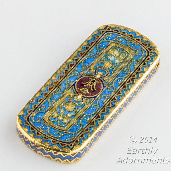 Cloisonné pendant. with blue and red enamel and gilt wire 50x23mm. Sold individually. b2-481(e)