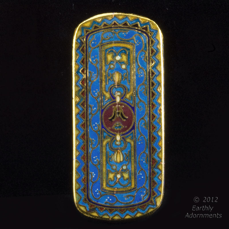 Cloisonné pendant. with blue and red enamel and gilt wire 50x23mm. Sold individually. b2-481
