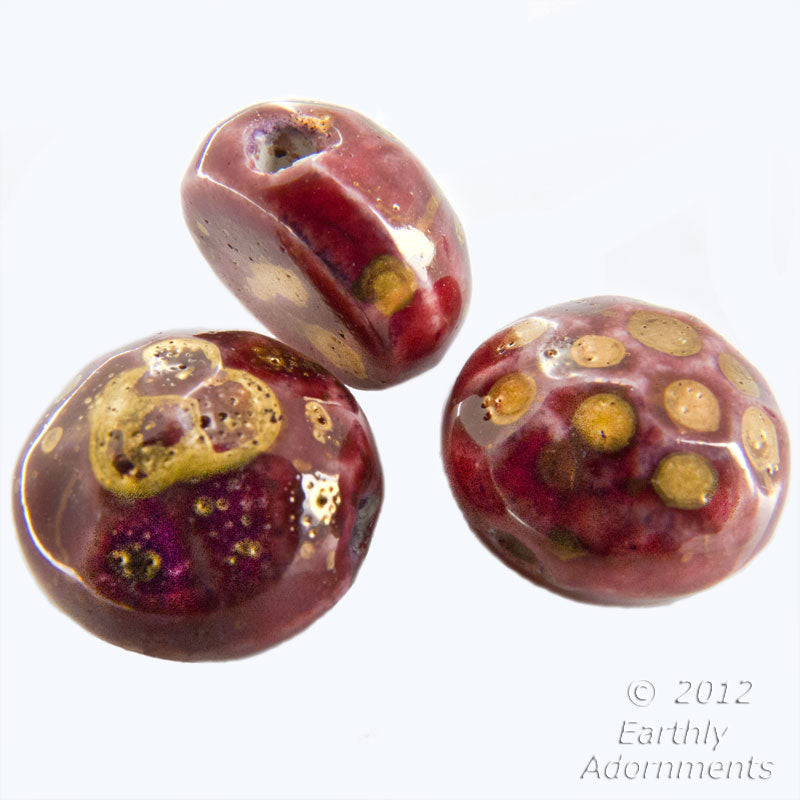Vintage porcelain flat-back nail-head beads raspberry glaze with gold accent. Japan 5x10mm, pkg 10. b2-485(e)