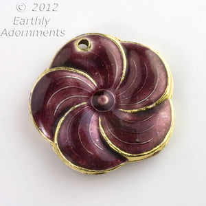 Enamel purple flower pendant, double sided, hole for bail. 31mm