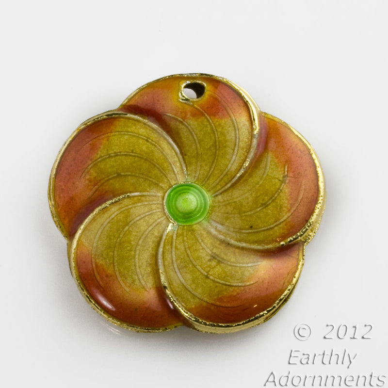 Enamel yellow orange flower pendant, double sided, hole for bail.