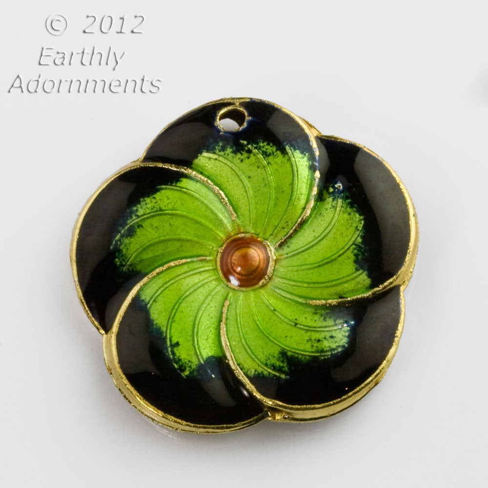 Enamel green flower pendant, double sided, hole for bail. 31mm