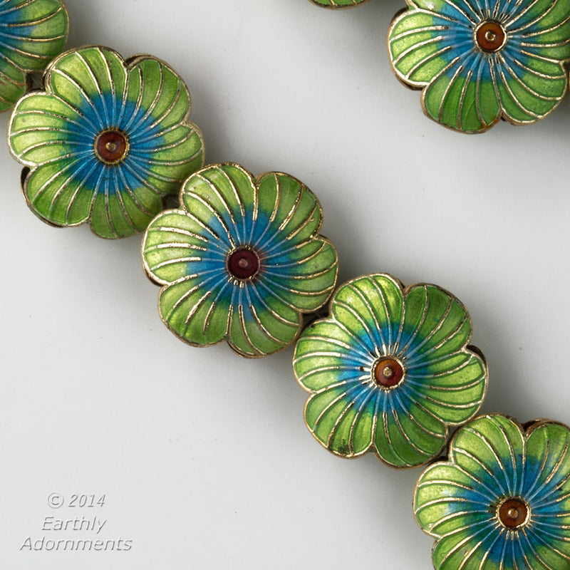 Enamel green flower beads, hollow, double sided, 1-3 hole. 20mm. Pkg. of 2. b2-510
