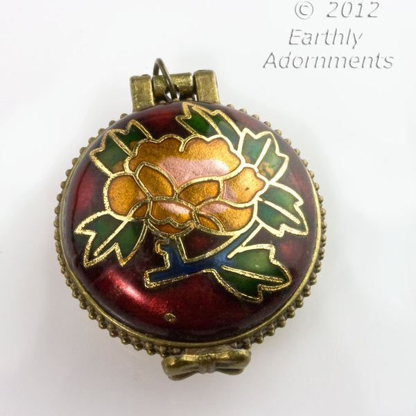 Cloisonne and bone locket with turquoise inlaid dragonfly, silver