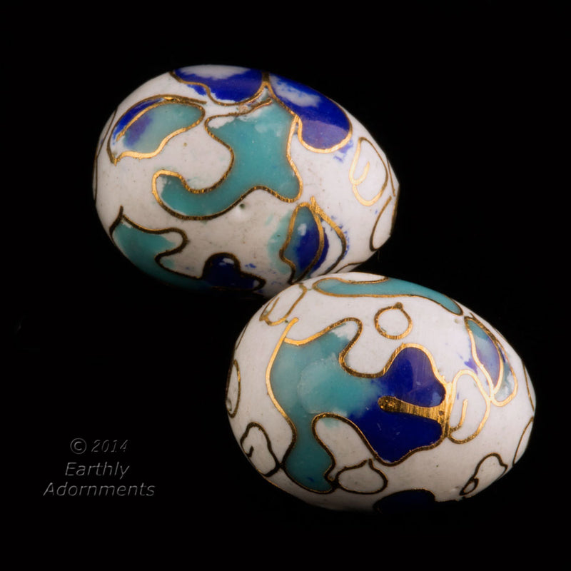 Vintage white cloisonne oval beads, blue and aqua enamel on white. 16x12mm. Package of 4. b2-541