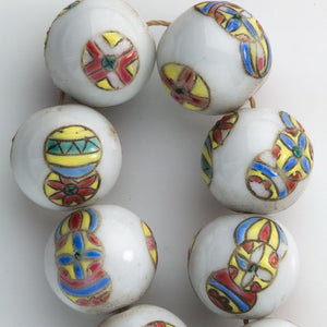 Chinese porcelain beads white with polychrome balls 14mm package