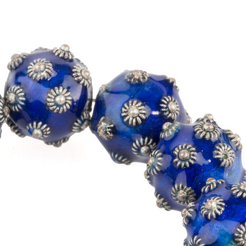 Hollow blue enamel and silver over copper Bali style beads. 12mm. Pkg. 2. b2-653