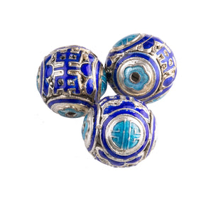 Enameled hollow metal bead blue and turquoise with silver accent, 15-16mm pkg of 1. b2-617