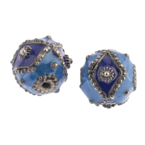 Blue enamel bead with navy accents and silver diamond design.. 12mm. Pkg. of 2. b2-620
