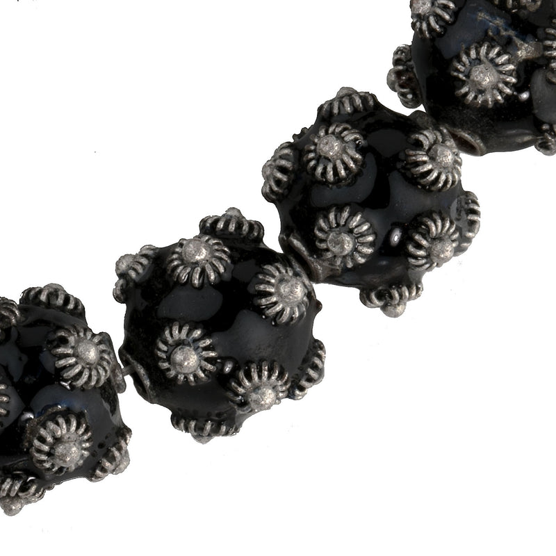 Hollow black enamel and silver over copper Bali style beads. 10mm. Package of 2. b2-636-1