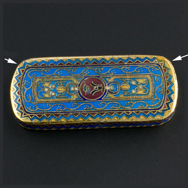 Cloisonné pendant. with blue and red enamel and gilt wire 50x23mm. Sold individually. b2-640