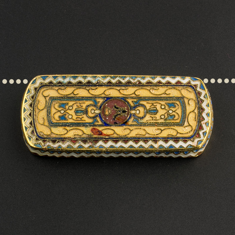 Cloisonné pendant. with gold, blue and red enamel and gilt wire 50x22mm. Sold individually. b2-641