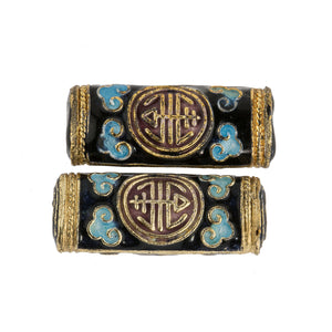 Black, red, light blue and gold enamel over copper hollow flattened cylinder beads, 29x12mm. Pkg.of 2 b2-642