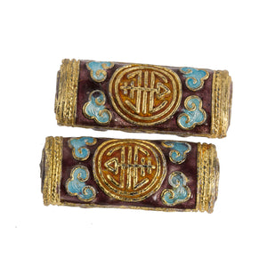 Red, light blue and gold enamel over copper hollow flattened cylinder beads, 29x12mm. Pkg.of 2