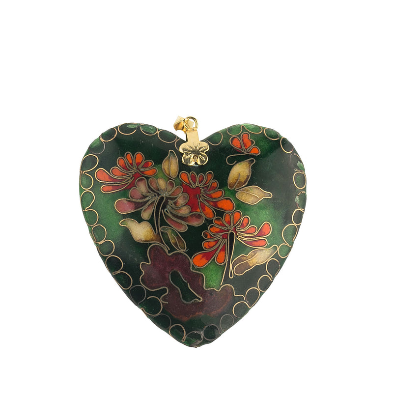 Fine old Chinese cloisonne heart shaped puffy double sided pendant with vermeil bail.  b2-644