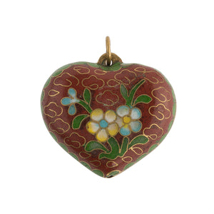 Fine old Chinese cloisonne heart shaped puffy double sided pendant. b2-645