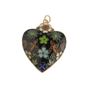 Vintage Chinese export cloisonne heart-shaped hollow double sided pendant. b2-646