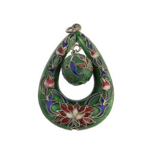 Vintage Chinese export cloisonne puffy teardrop pendant.  b2-647