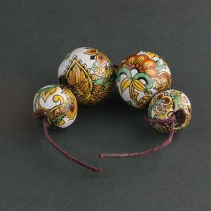 Vintage Greek ceramic round flower decal beads c. 1970, strand of 4 pieces.  b2-650