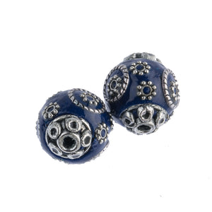 Blue and silver hollow enameled metal eye bead. Indonesia.17x16mm. Pkg. 2. b2-654