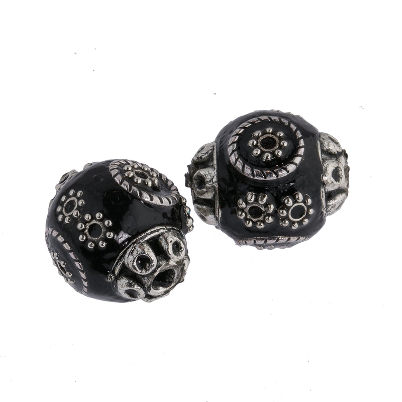 Black and silver hollow enameled metal eye bead. Indonesia.17x16mm. Pkg. 2. b2-658