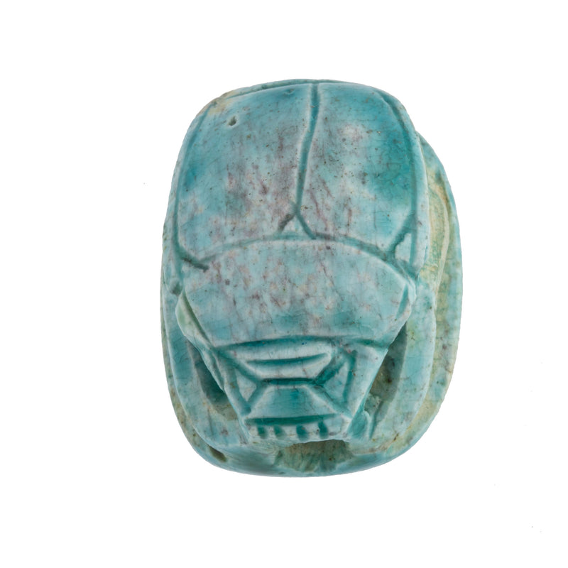 Vintage large hand-carved ancient Egyptian faience scarab bead replica with hieroglyphs.  32x24x16mm.   b2-659