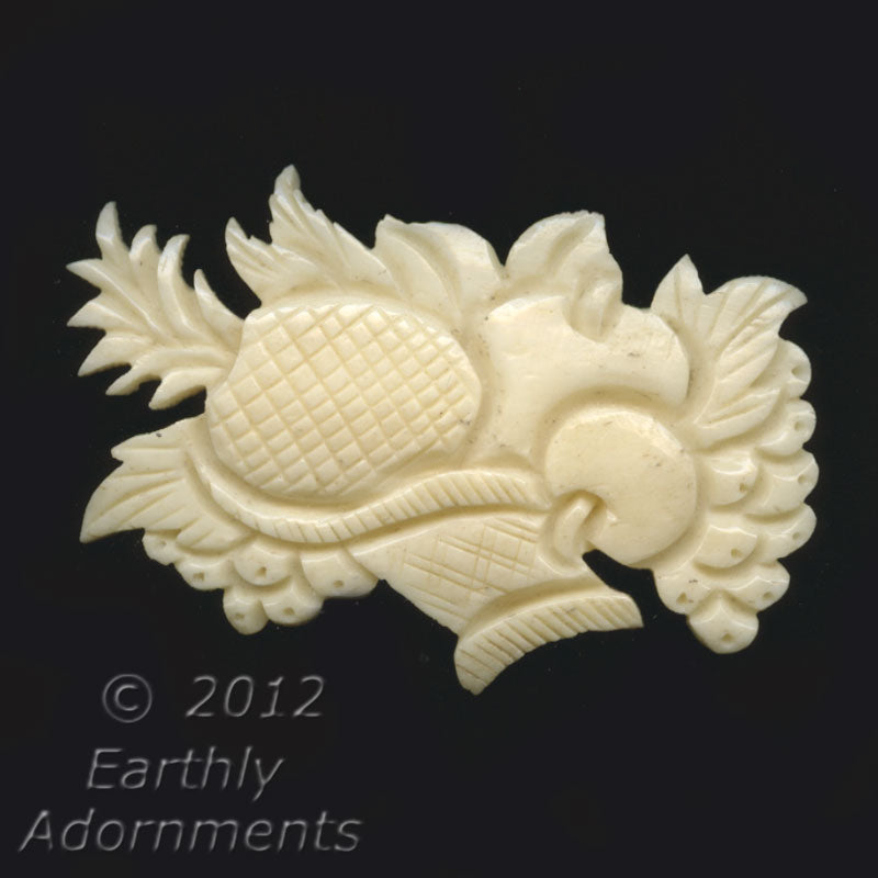B3-bo167-Old hand carved bone pendant. Cornucopia Design. 30 x 52 x 6 mm. No hole.