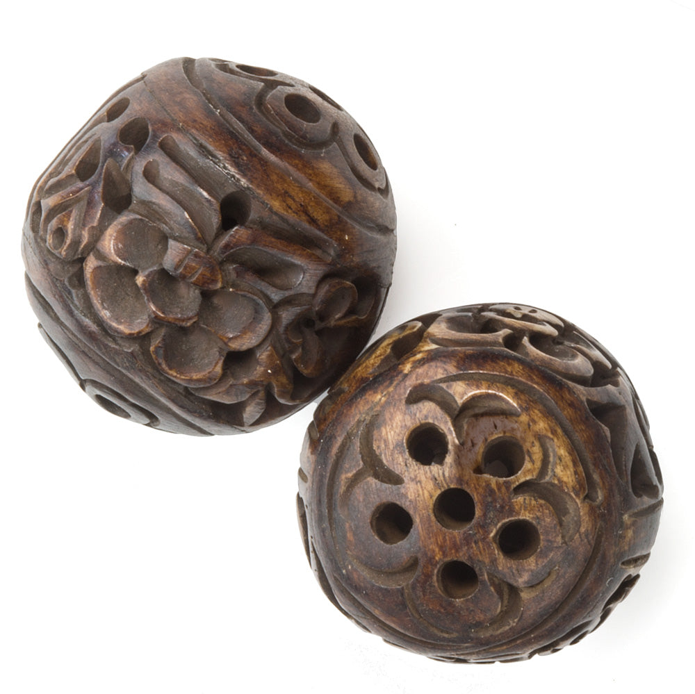 b3-bo183(e)- Hollow carved pierced and stained bone beads.