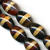 Inlaid agate beads India. 15x11mm. Pkg of 2. b4-aga193(e)