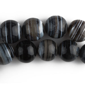 Black white and brownbanded agate beads16mm. pkg1. b4-aga229
