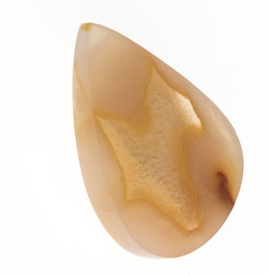 Carved banded agate and drusy quartz teardrop shaped cabochon, 38x27x8mm. b4-aga232cs