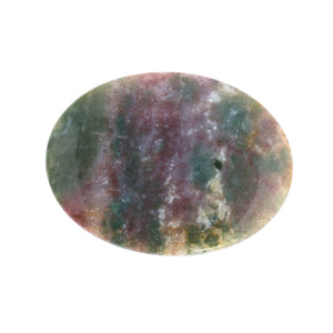 Vintage Indonesian red and green moss agate cabochon.  50x40x5mm.  15.75 gr. B4-AGA259