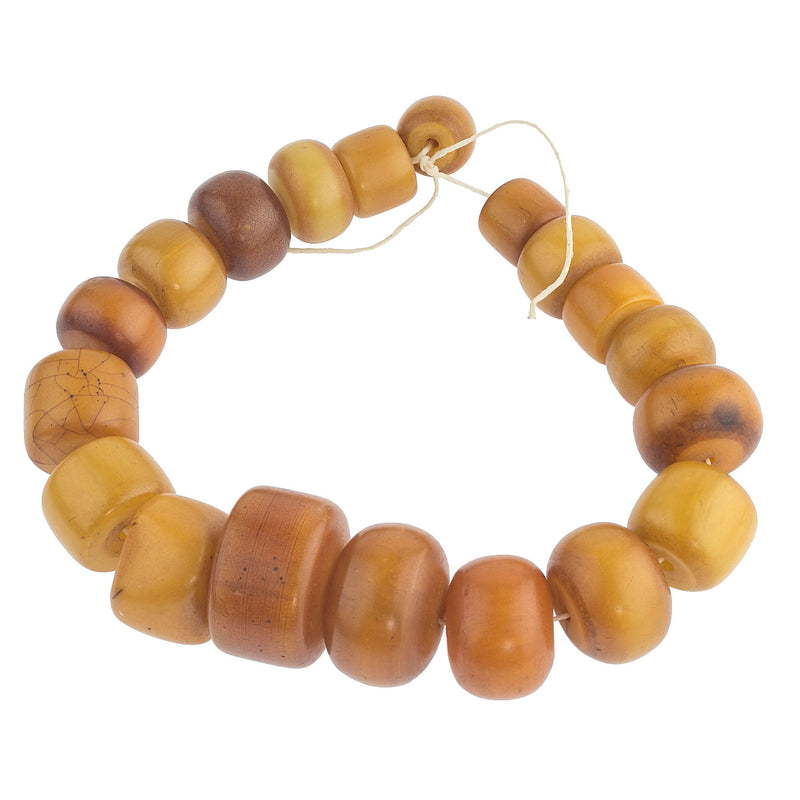 Old African Amber Phenolic resin bead strand.  b4-amb090cs