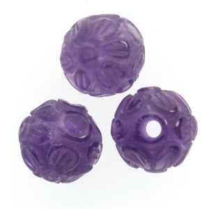 Hand carved floral amethyst rounds. 16mm Pkg of 1. B4-ame196