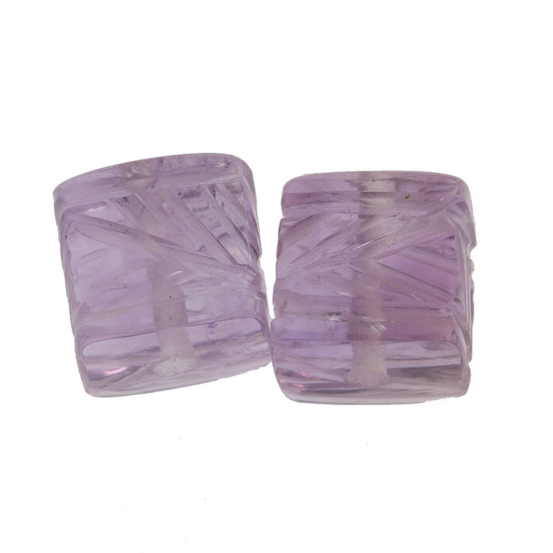 Matched pair of carved natural amethyst cubes 6mm.  b4-ame223