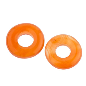 Old stock handcarved carnelian donuts. 18-20mm. Pkg of 1. b4-car062-1