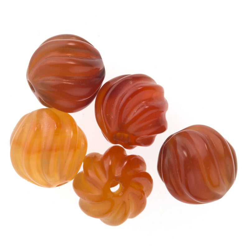 Carnelian carved fluted melons,14mm. Pkg of 1. B4-car063(e)